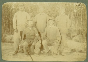Инвалиди, без очи и ръце от групата, пратена на работа в Ботаническата градина в Атина, август 1919 г.